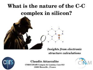 cc complex defect in silicon